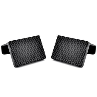 Black-plated Stainless Steel Snakeskin Design Cuff Links
