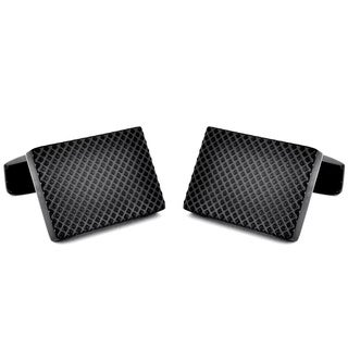 Crucible Black Plated Stainless Steel Textured Cuff Links