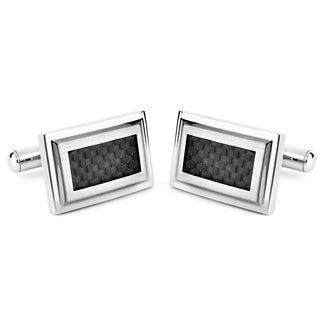 Stainless Steel Rectangular Black Carbon Fiber Inlay Cuff Links