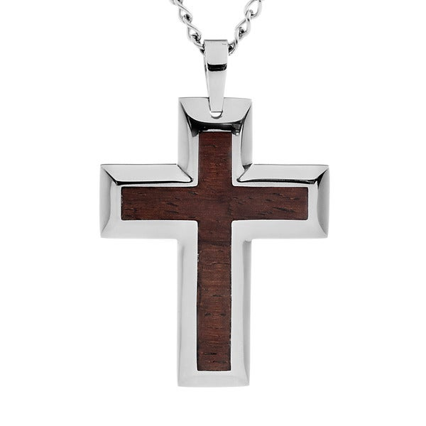 Stainless Steel Brown Wood Inlay Cross Necklace