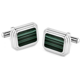 Stainless Steel Malachite Grooved Edge Rectangle Cuff Links