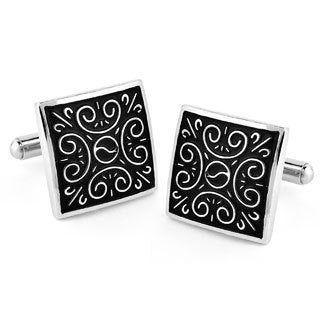 Stainless Steel Enameled Square Cuff Links