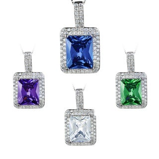 ELYA Sterling Silver Radiant-cut Cubic Zirconia Double Halo Necklace