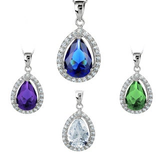 ELYA Silver Pear-cut Cubic Zirconia Halo Necklace