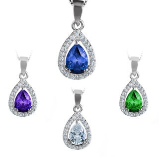 ELYA Sterling Silver Pear-cut Cubic Zirconia Halo Necklace