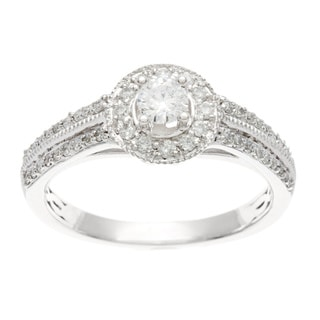 10k White Gold 1/2ct TDW Princess-cut Diamond Engagement Ring (H-I, I1-I2)