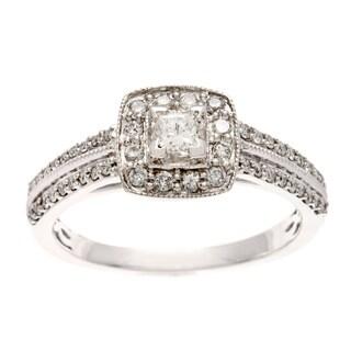 Sofia 10k White Gold 1/2ct TDW Diamond Prong and Pave-set Engagement Ring (H-I, I1-I2)