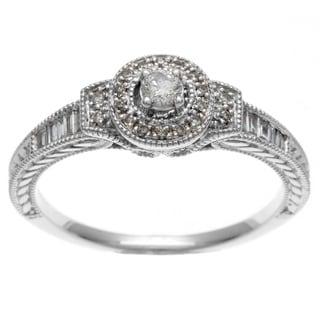 Sofia 10k White Gold 1/4ct TDW Round and Baguette Diamond Ring (H-I, I1-I2)