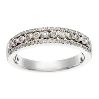 14k White Gold 1/4ct TDW Certified Bezel Diamond Anniversary Band (H-I, I1-I2)