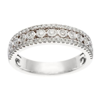 14k White Gold 1/2ct TDW Certified Bezel Set Diamond Anniversary Band (H-I, I1-I2)