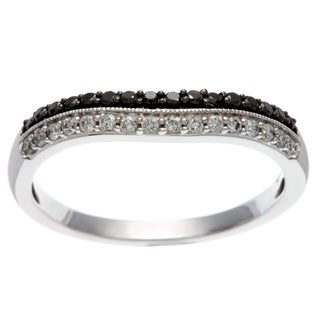 14k White Gold 1/3ct TDW Black and White Wave Diamond Band (H-I, I1-I2)