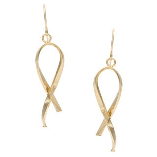 14k Yellow Gold Italian Fashion Ribbon Dangle Earrings