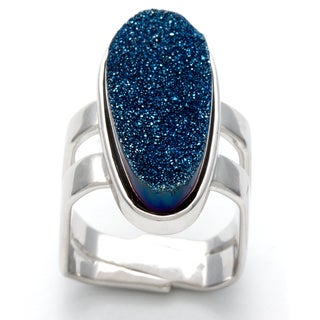 Silvermoon Sterling Silver Blue Drusy Elongated Ring