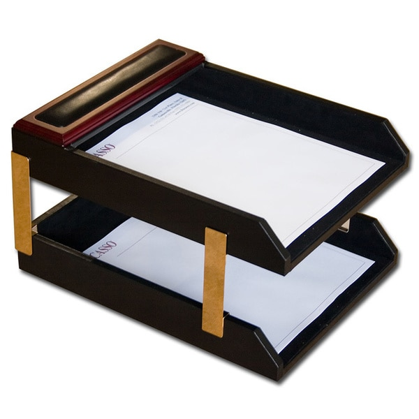Rosewood/Leather Double-letter Tray Set