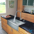VIGO All in One 33-Inch Farmhouse Stainless Steel Kitchen Sink and Chrome Faucet Set