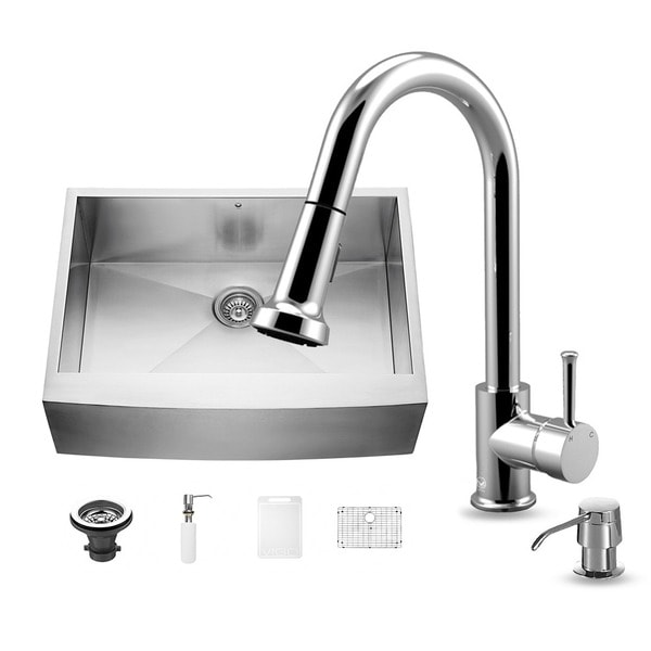 24 Inch Stainless Steel Farmhouse Sink : VIGO All in One 30-Inch Farmhouse Stainless Steel Kitchen Sink and ...