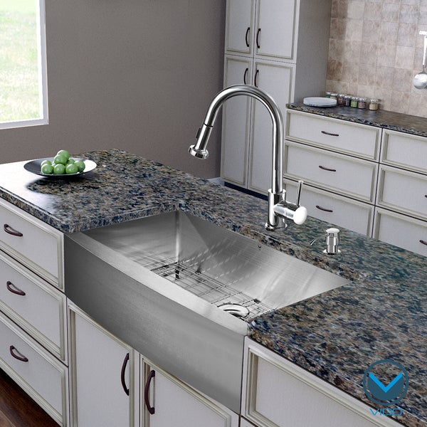 VIGO All in e 36 Inch Farmhouse Stainless Steel Kitchen Sink and Chrome Fau