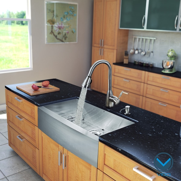 VIGO All in One 36-Inch Farmhouse Stainless Steel Kitchen Sink and ...