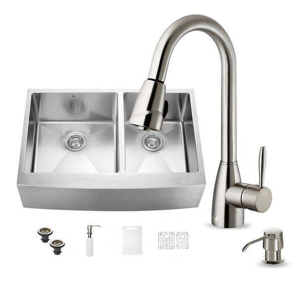 Vigo All In One 33 Inch Farmhouse Stainless Steel Double Bowl Kitchen Sink And Faucet Set