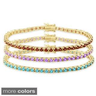 Dolce Giavonna Gold Over Silver Gemstone Tennis Bracelet