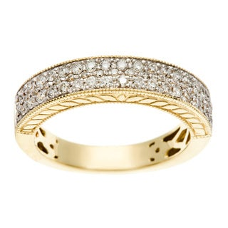 Sofia 14k Yellow Gold 1/2ct TDW Pave Diamond Band (H-I, I1-I2)