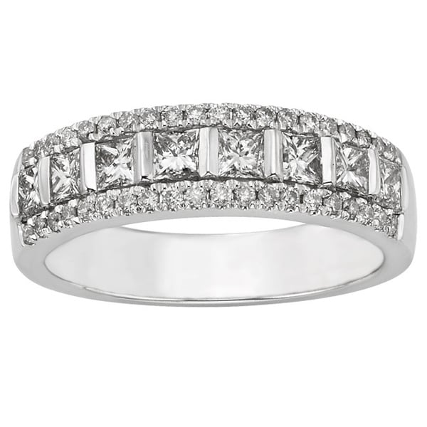 Sofia 14k White Gold 1ct TDW Certified Diamond Anniversary Ring (H-I, I1-I2)
