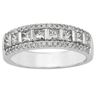 14k White Gold 1ct TDW Certified Diamond Anniversary Ring (H-I, I1-I2)