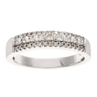 14k White Gold 1/4ct TDW Certified Mixed Cut Diamond Band (H-I, I1-I2)