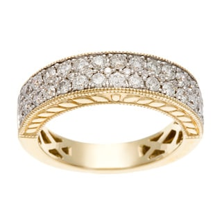14k Yellow Gold 1ct TDW Certified Round Pave Diamond Band (H-I, I1-I2)