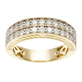 14K Yellow Gold 1ct TDW Certified Double Row Pave Diamond Band (H-I, I1-I2)