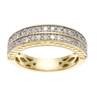 14k Yellow Gold 1/2ct TDW Certified Round Diamond Anniversary Band (H-I, I1-I2)