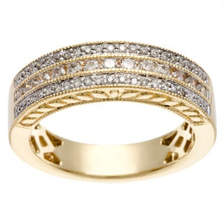 14k Yellow Gold 1/2ct TDW Multi Row Diamond Band (H-I, I1-I2)