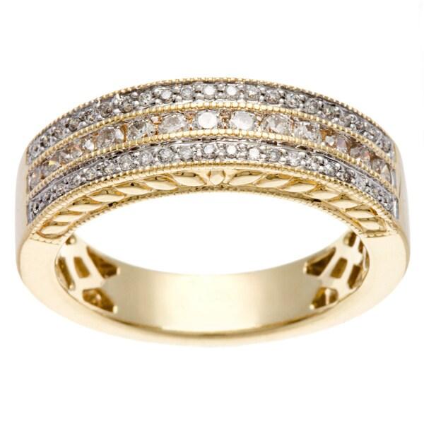 14k Yellow Gold 1/2ct TDW Multi Row Diamond Band (H-I, I1-I2)