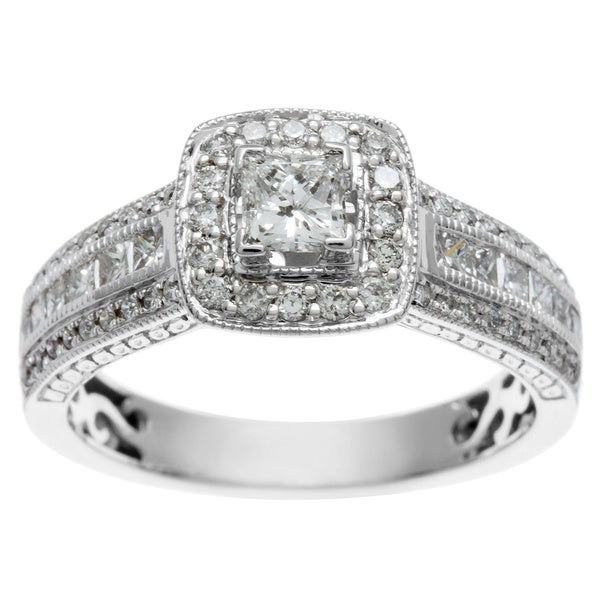 Sofia 14k White Gold 1ct TDW Certified Diamond Engagement Ring (H-I, I1-I2)