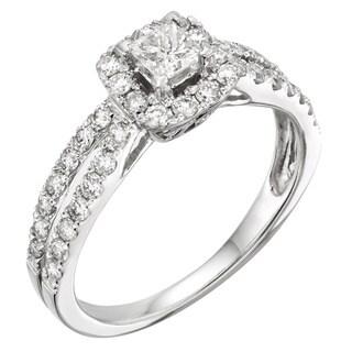Sofia 14k White Gold 1ct TDW Princess Certified Diamond Engagement Ring (H-I, I1-I2)