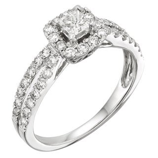 14k White Gold 1ct TDW Princess Certified Diamond Engagement Ring (H-I, I1-I2)