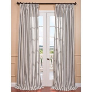 Key West Grey Stripe Linen Blend Curtain Panel