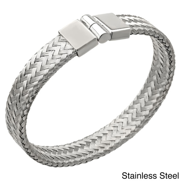 Stainless Steel Magnetic Lock 12-mm Braided Bangle Bracelet