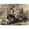 'Mother Working at Home to Spin Fiber, 19th Century' Canvas Print