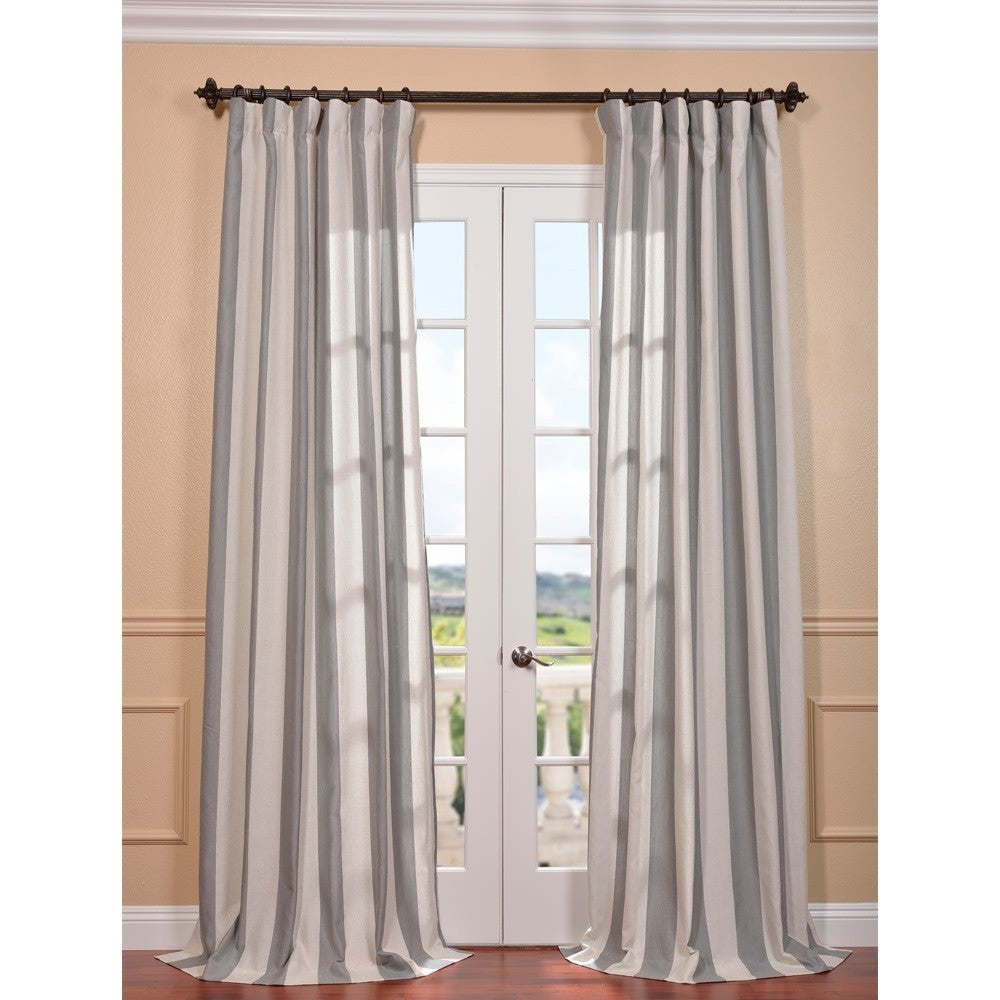 EFF Bermuda Grey Linen Blend Stripe Curtain Panel at Sears.com