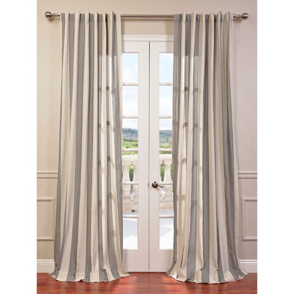 Bermuda Grey Linen Blend Stripe Curtain Panel
