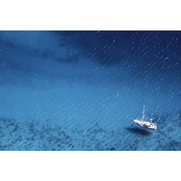 'Boat Floating on Ocean, Caribbean' Canvas Art Print