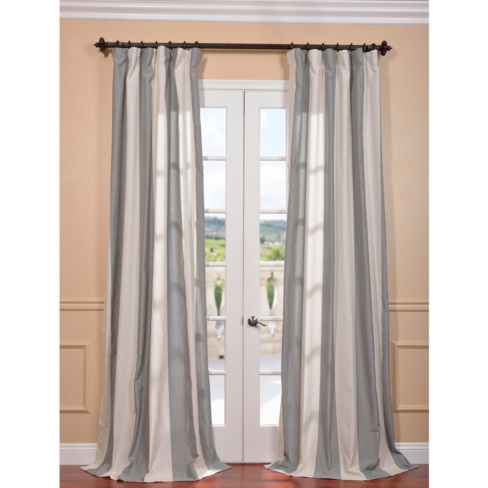 EFF Del Mar Grey Linen Blend Stripe Curtain Panel at Sears.com