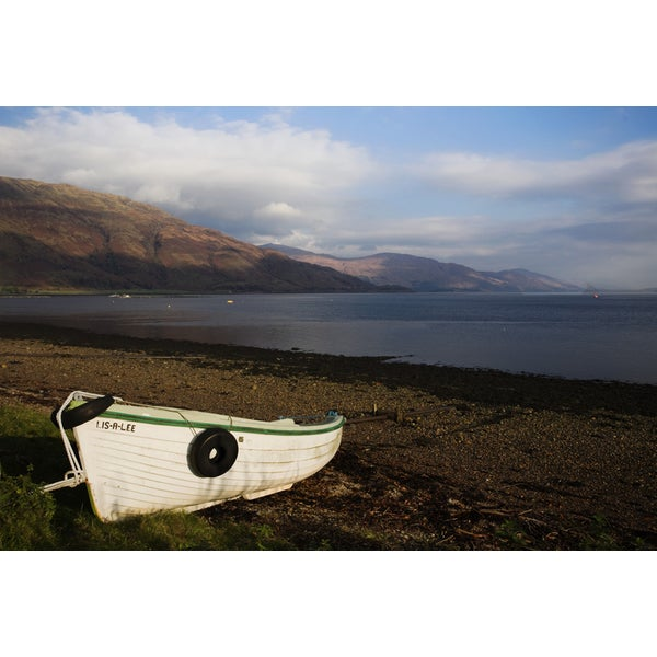 'Boat on Shore of Fishnish, Isle of Mull, Scotland' Canvas Art Print