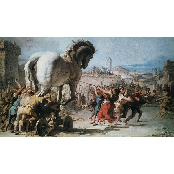 Tiepolo 'The Procession of the Wooden Horse of Troy' Canvas Print