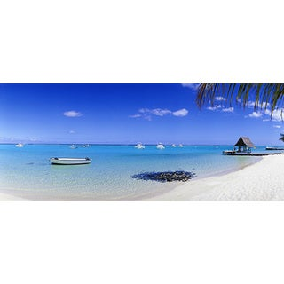 'Boats in Tropical Ocean Panoramic' Canvas Art Print