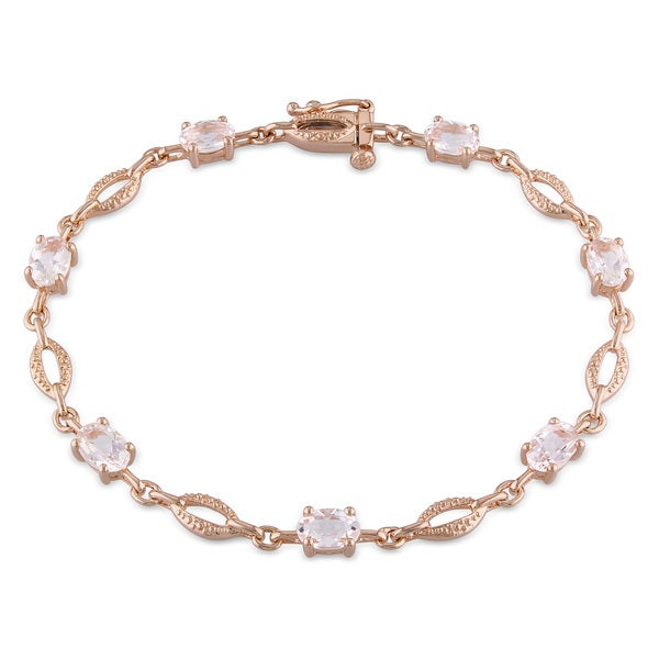 Miadora Rose-plated Silver 3 1/2ct TGW Morganite Bracelet