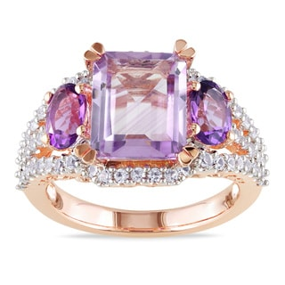 Miadora Rose-plated Silver Created White Sapphire, Rose de France and Amethyst Ring