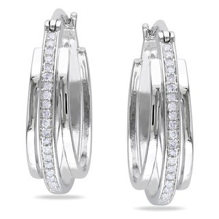Miadora Sterling Silver 1/5ct TDW Diamond Hoop Earrings (H-I, I2-I3)