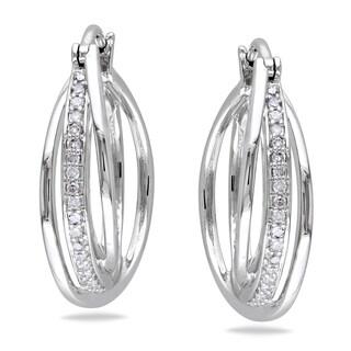 M by Miadora Sterling Silver 1/5ct TDW Diamond Hoop Earrings (H-I, I2-I3)